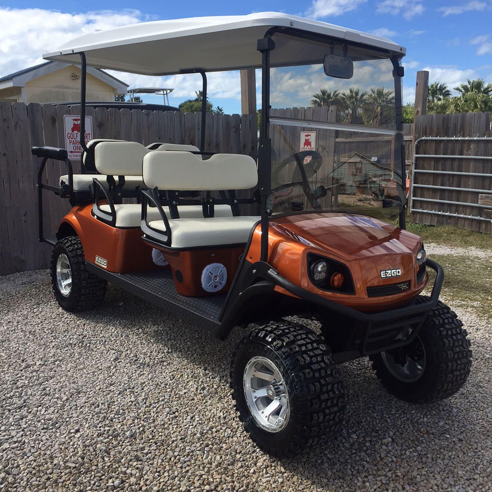EZGO Sunburst Orange Golf Car
