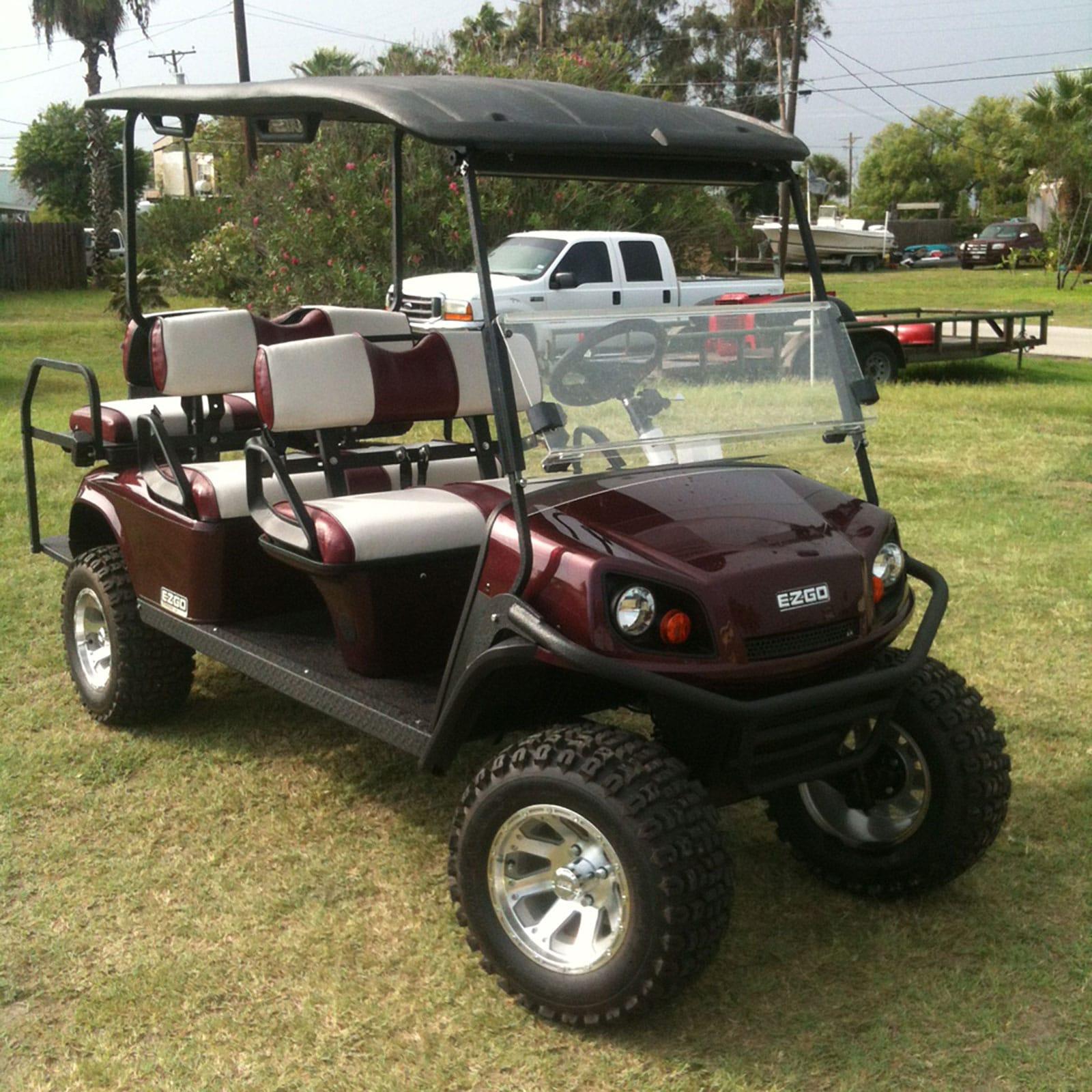 Maroon EZGO Golf Car